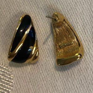 Monet Black Enamel & Gold Tone Earrings